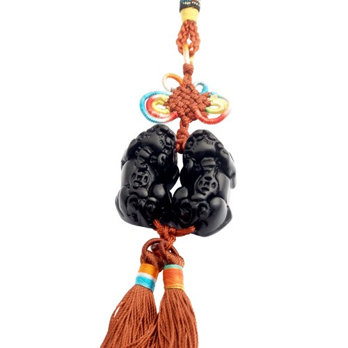Black Obsidian Double Pi Yao Tassel for Good Fortune and Protection