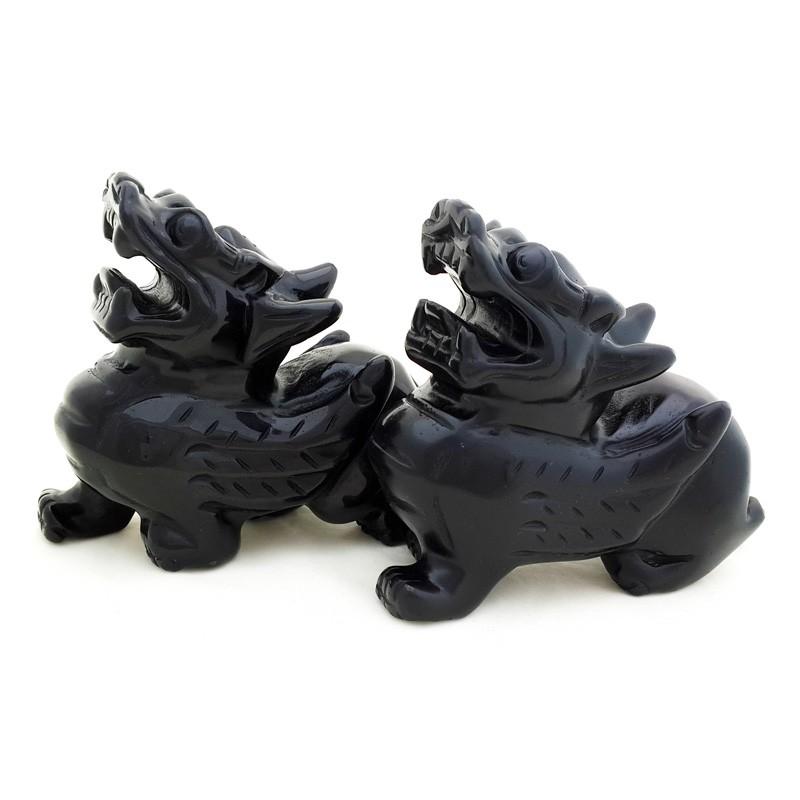 A Pair of Black Obsidian Pi Yao