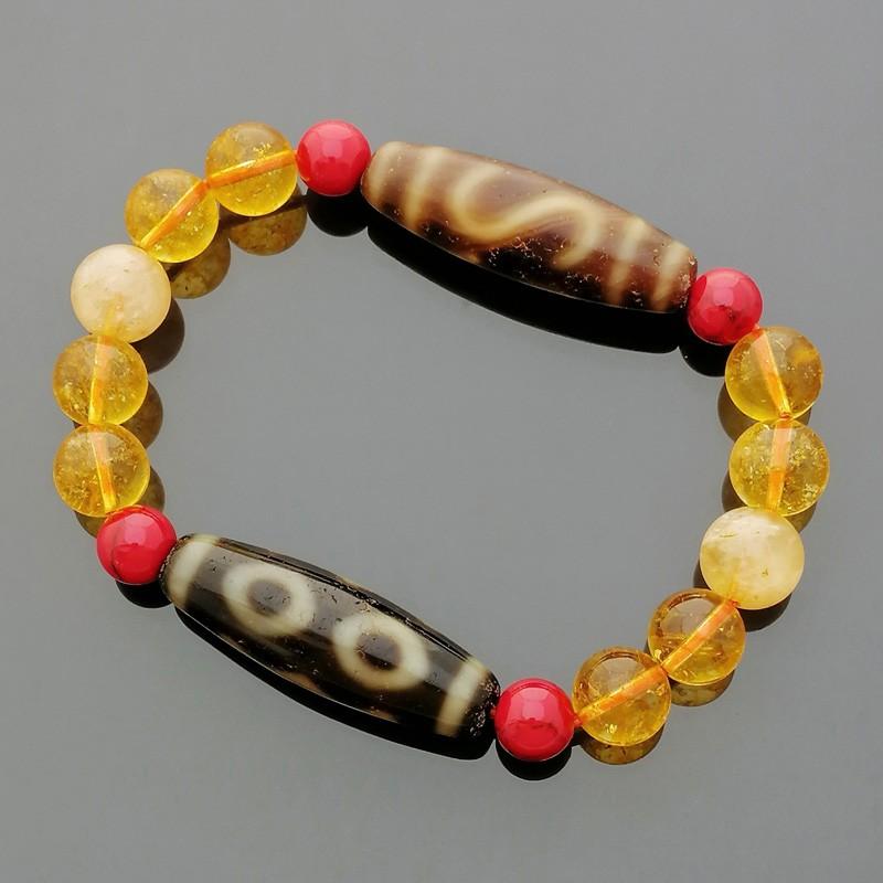 The Wealth dZi Combo Feng Shui Lucky Charm Bracelet to Enhance Wealth Luck
