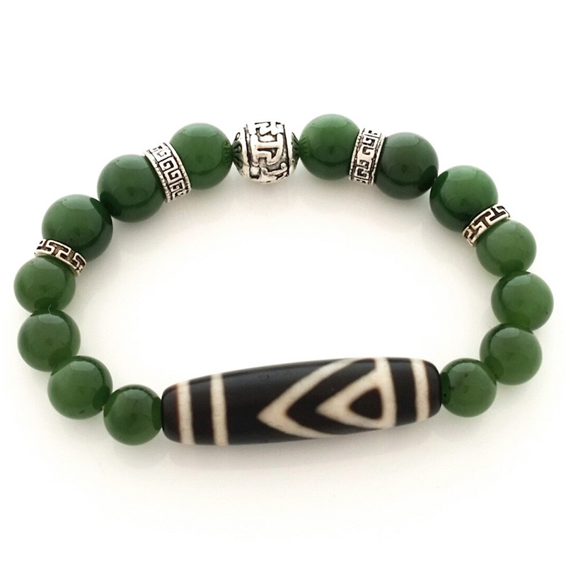 Authentic OLD Agate Dzi Bead One Eyed with Hetian Jade Feng Shui Bracelet
