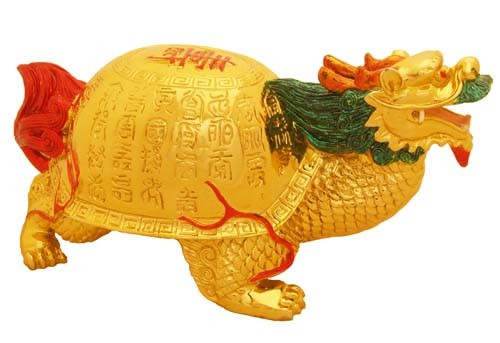 Golden Dragon Tortoise with Sau for Success and Longevity