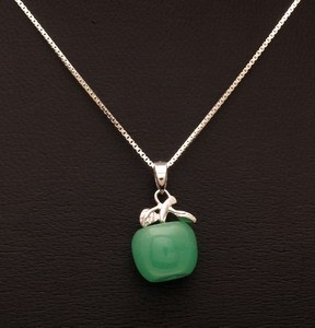 Jade Apple with 925 Silver Pendant