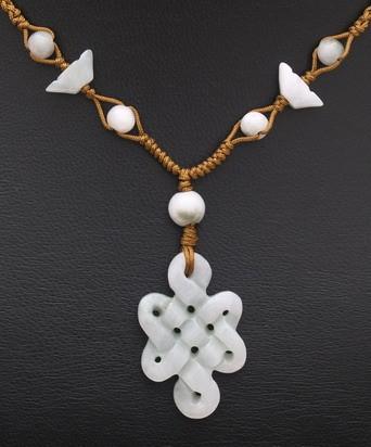 Jade Mystic Knot Necklace (Vertical)