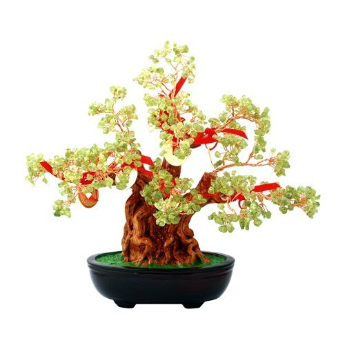 Peridot Crystal Tree with 8 Gold Coins for Good Relationship