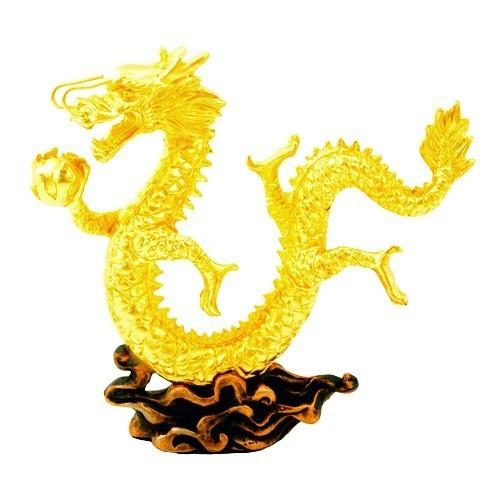 24K Gold Plated Dragon Figurine