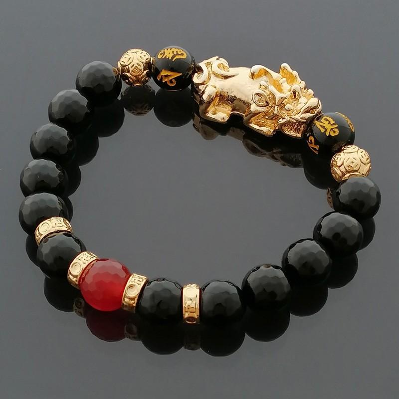 Feng Shui Golden Pi Yao Lucky Charm Bracelet for Good Luck