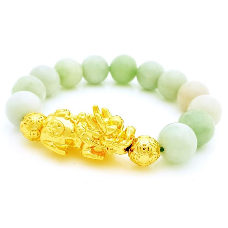 Feng Shui Golden Pi Yao Amulet with Natural Jade Bracelet