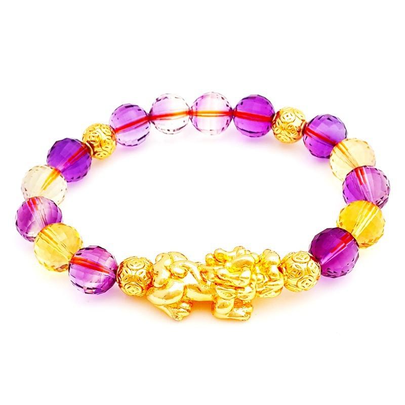 Feng Shui Golden Pi Yao Pi Xiu Lucky Amulet with Ametrine Crystals Bracelet