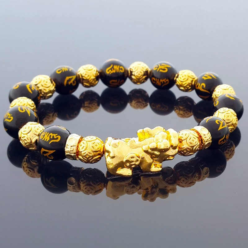 Golden Pi Yao Feng Shui Lucky Charm Bracelet