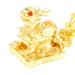 Gold Pi Yao Keychain For Good Fortune and Protection