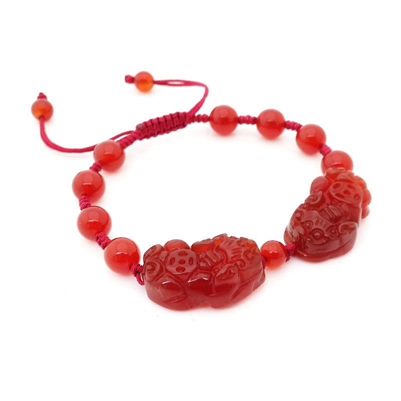 Natural RED Agate Double Pi Yao Pi Xiu Lucky Charm Bracelet