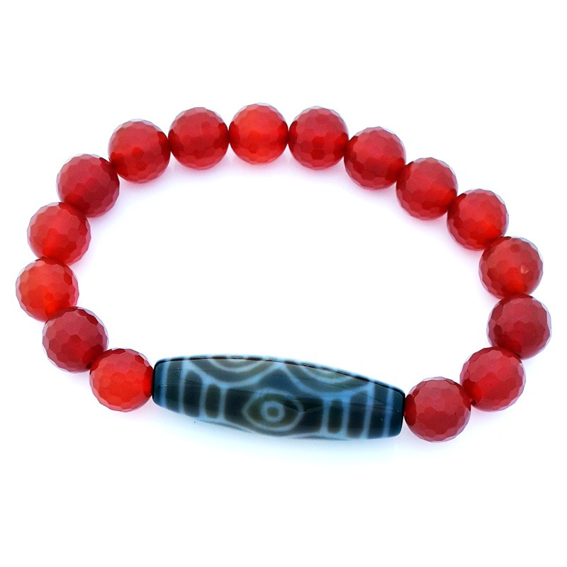 Dragon Eye Dzi with Faceted Red Agate Bracelet