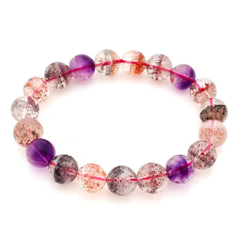 Natural AAA Super Seven Melody Stone Crystal Round Beads Stretch Bracelet