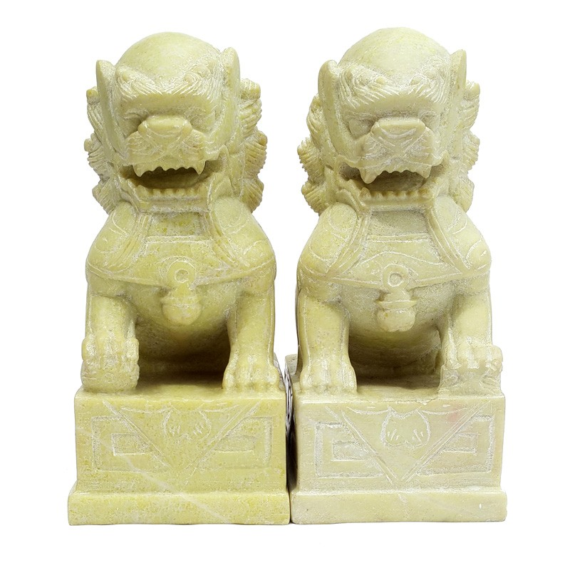 A Pair of YELLOW STONE Temple Lions on Stand