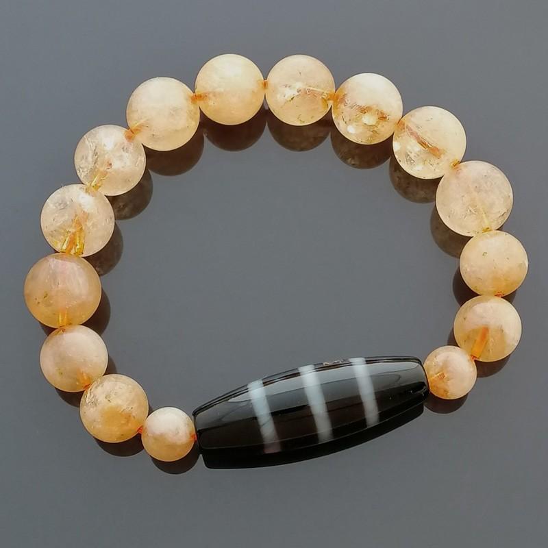 Authentic Tibetan Agate Dzi Bead 3 Line with Citrine Bracelet