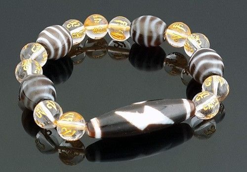 Thunder 5 Eyes and Fortune Wave Dzi beads bracelet for Strong Wealth Luck