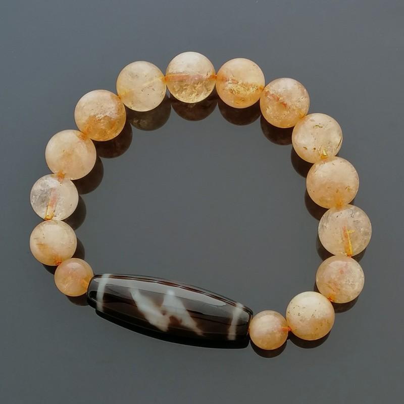 Authentic Tibetan Agate Dzi Bead Thunder 5 Eyed with Citrine Bracelet