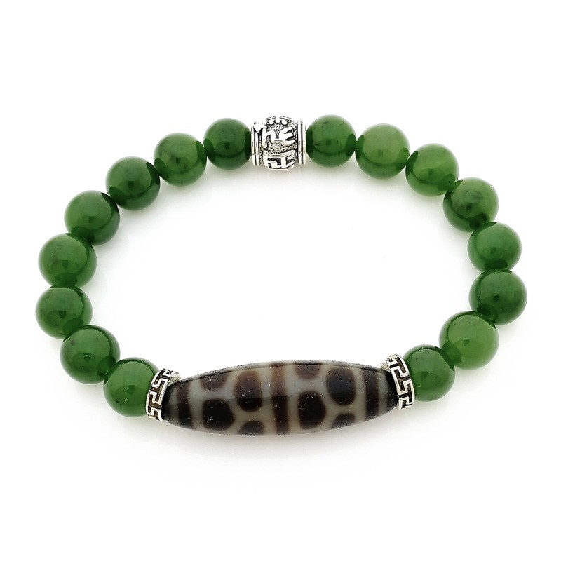 Authentic OLD Agate Dzi Bead Turtle Shell with Hetian Jade Feng Shui Bracelet