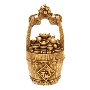 Overloaded Bronze Wealth Bucket for Prosperity and Good Fortune