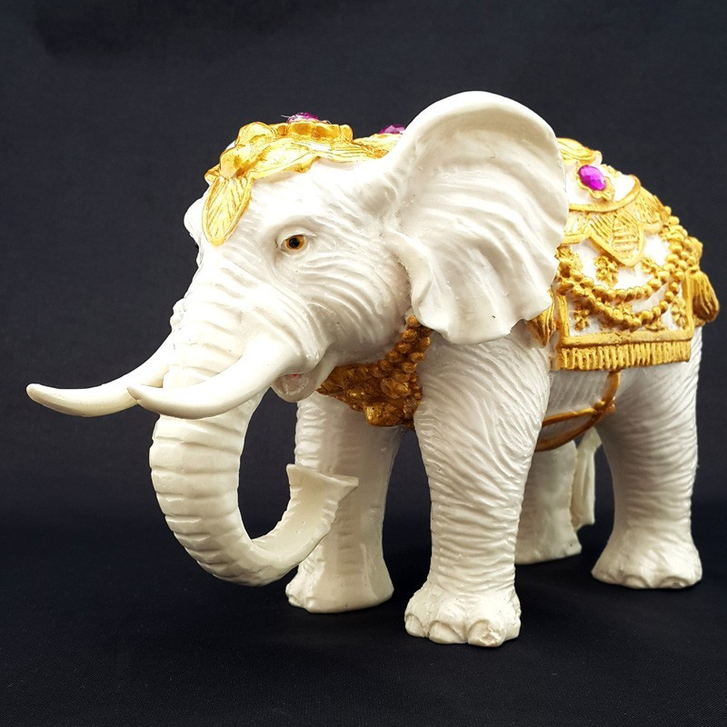 Feng Shui Sculpture White Elephant Statue for Success Luck and Protection