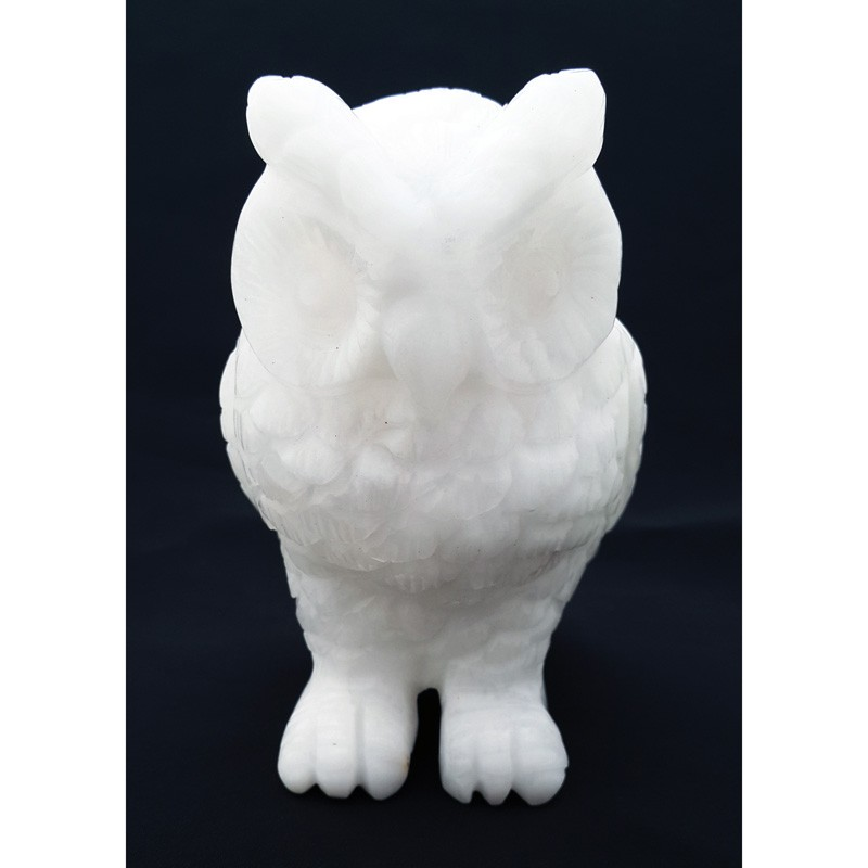 Natural White Jade Owl Figurine for Good Health