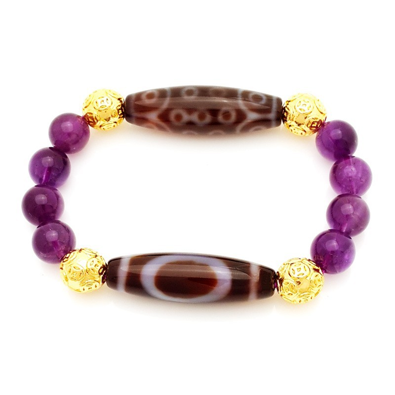 Authentic Tibetan Wisdom Combo Dzi Beads with Amethyst Bracelet for Literary LUCK