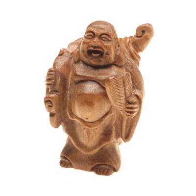 Wood Carved Laughing Buddha of Wealth and Success