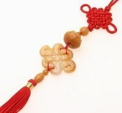 Yellow Jade Mystic Knot with Lotus Tassel