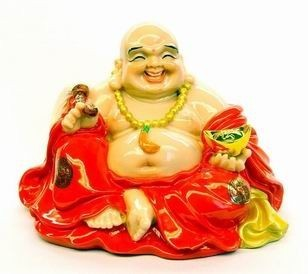 Red Robed Laughing Buddha Holding an Ingot