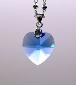 Aquamarine Heart-Shape Crystal Pendant for Healing Energies