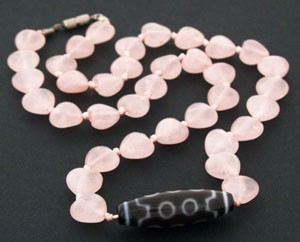 10 Eyed Dzi Bead with Heart Shape Rose Quartz Beads Necklace