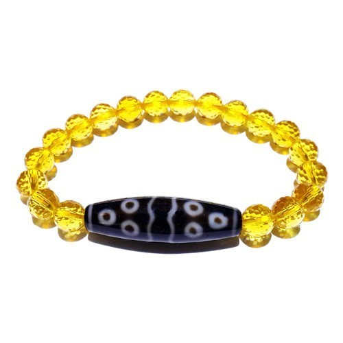 11 Eyes Dzi Bead with 8mm Faceted Citrine Bracelet