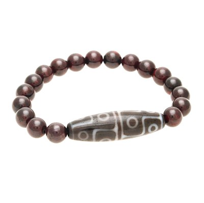 12 Eyed Dzi Bead with Natural Red Garnet Bracelet