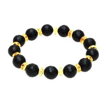 Black Faceted Onyx Crystal Bracelet