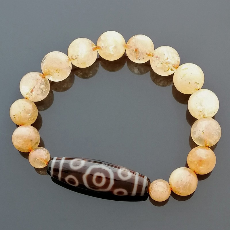 Authentic Tibetan Agate Dzi Bead 13 Eyed with Citrine Bracelet