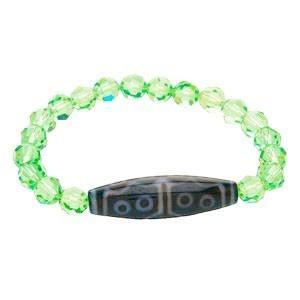 15 Eyed Dzi Bead with Swarovski Crystal Bracelet ( Peridot )