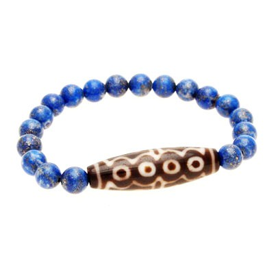 15 Eyed Dzi Bead with 8mm Smooth Natural Lapis Lazuli Bracelet