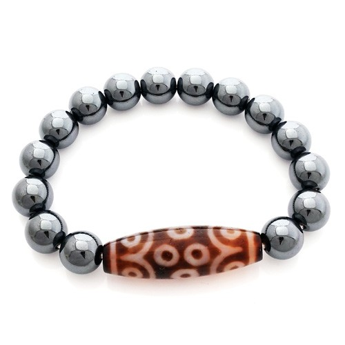 15 Eyed Dzi Bead with 10mm Smooth Hematite Bracelet