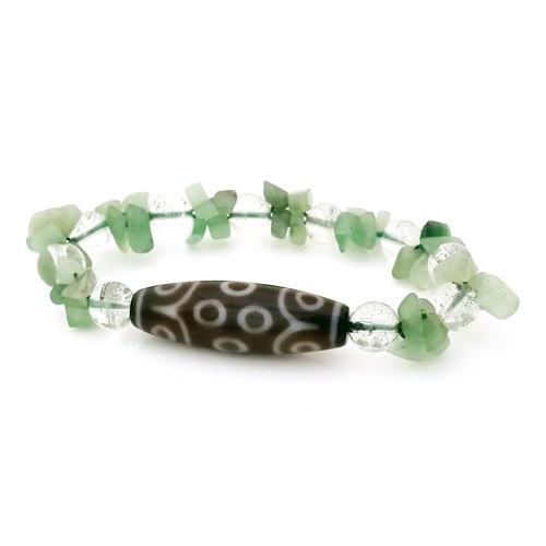 Authentic Tibetan Agate 15 Eyed Dzi Bead Bracelet