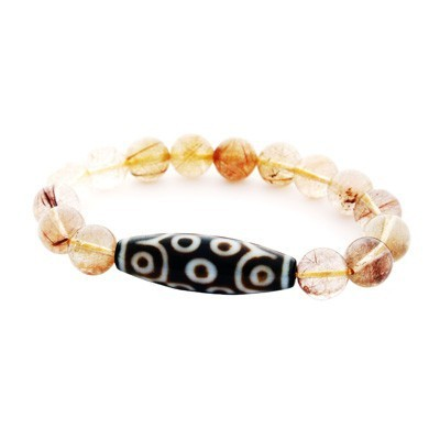 15 Eyed Dzi Bead with Natural Rutilated Quartz Bracelet