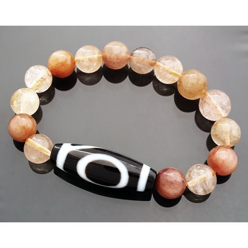 1 Eyed Dzi Bead with Natural Rutilated Quartz Bracelet
