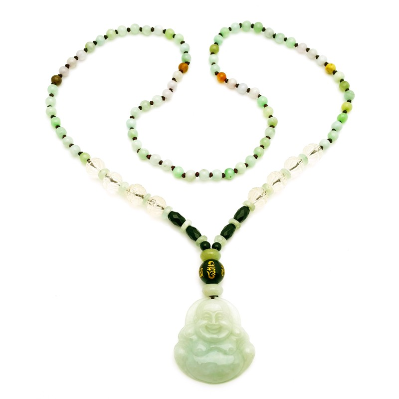 Natural Jade Laughing Buddha Necklace for Good Fortune