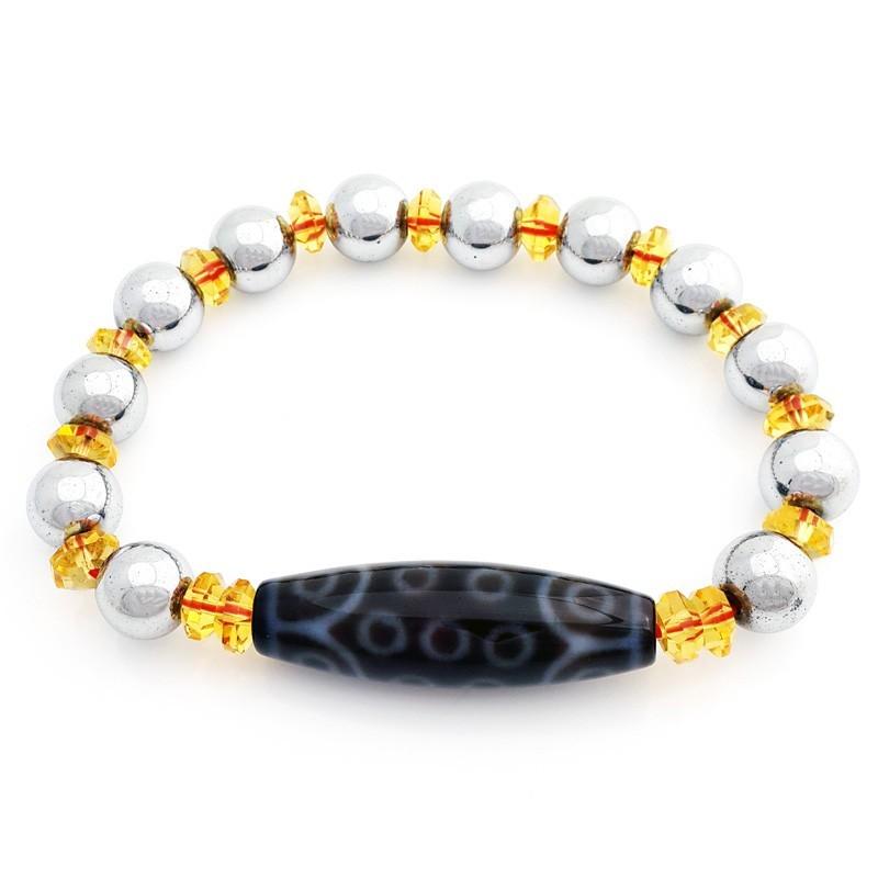 21 Eyes Dzi Bead with 10mm Smooth Hematite Bracelet