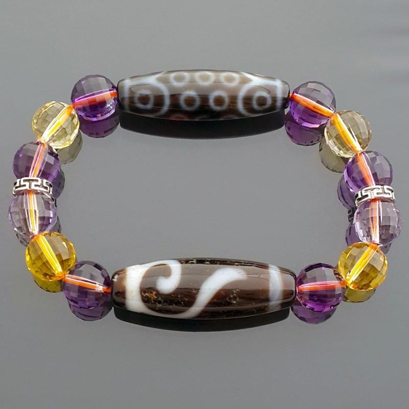 21 Eyed with Money Hook Dzi Beads Bracelet