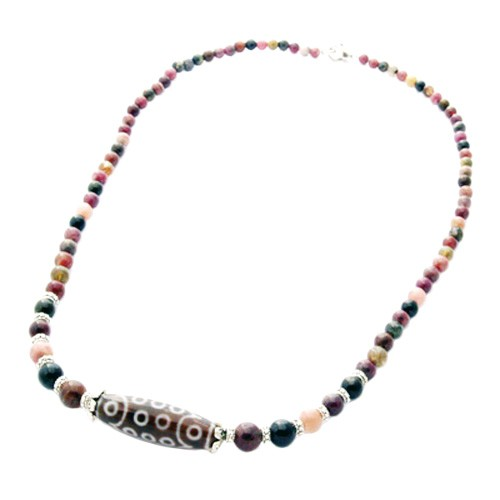 21-Eye Dzi Bead with Tourmaline Necklace