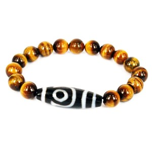 Two Eyed Dzi with Tiger Eye Beads Bracelet