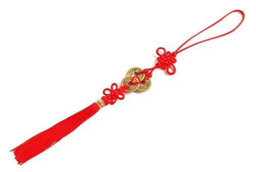 Feng Shui 3 I-Ching Coins Tassel With Mystic Knot