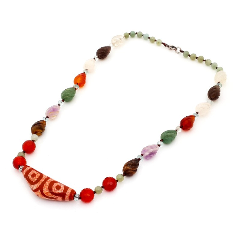 Authentic Tibetan 3 Eyed Agate Dzi Bead Necklace for Wealth and Health