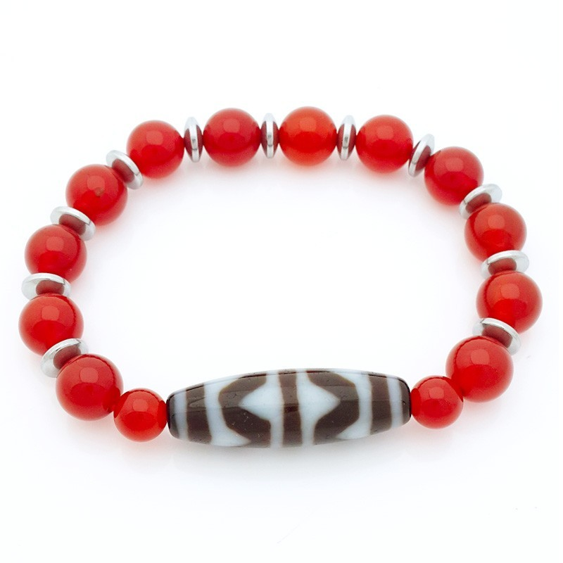 4 Line Tiger Tooth Dzi Bead with Natural Red Agate Bracelet