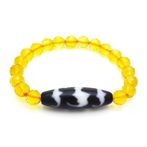 5 Auspicious Bats Dzi Bead with 8mm Faceted Citrine Donut Bracelet